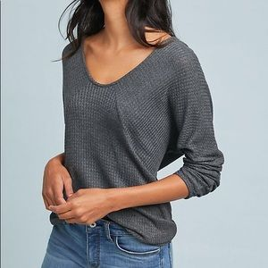 Anthropologie Pure + Good Grey Waffle V-Neck Top